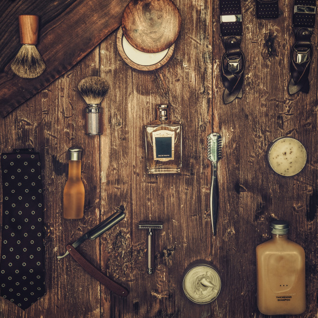 """Gentleman's accessories on a on a luxury wooden board"" stock image"