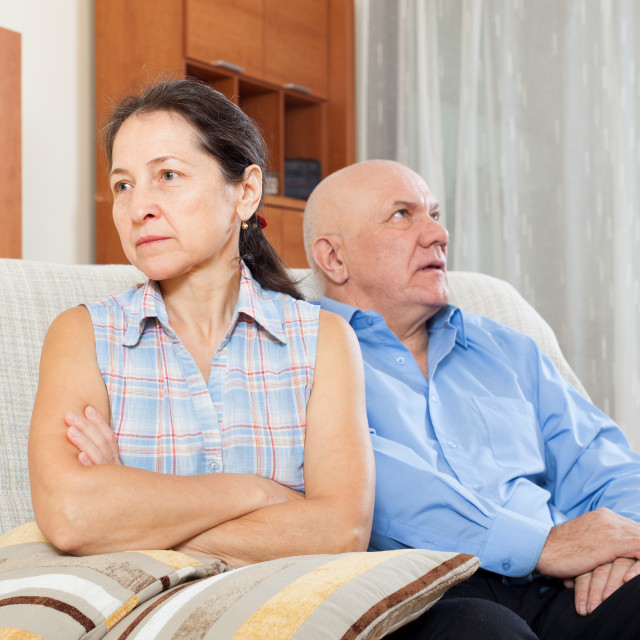 """""""Mature woman having conflict with husband"""" stock image"""