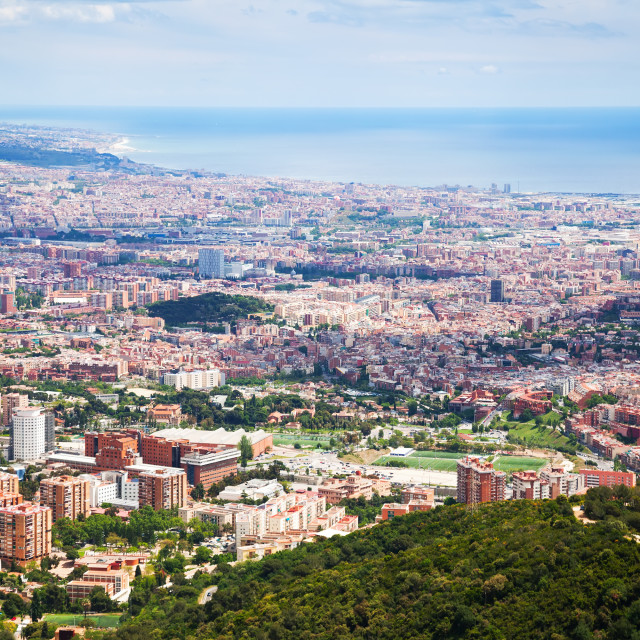 """""""Outskirt districts in Barcelona from mount"""" stock image"""