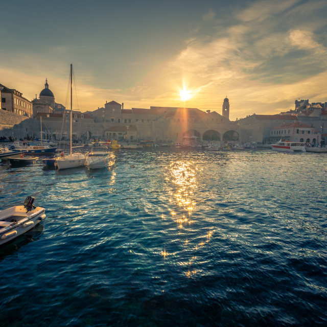 """Panoramic view of Dubrovnik fortress at sunset, Croatia"" stock image"