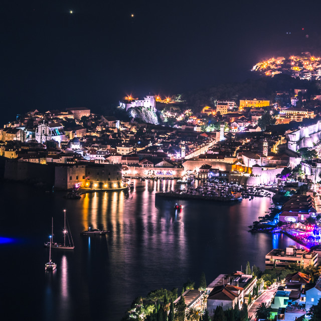 """Panoramic view of Dubrovnik fortress at night, Croatia"" stock image"