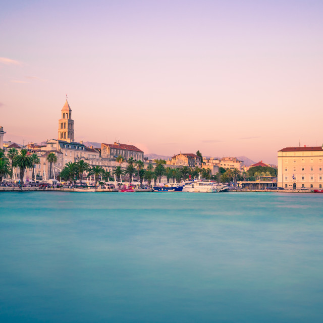 """Split waterfront evening panorama, Croatia"" stock image"
