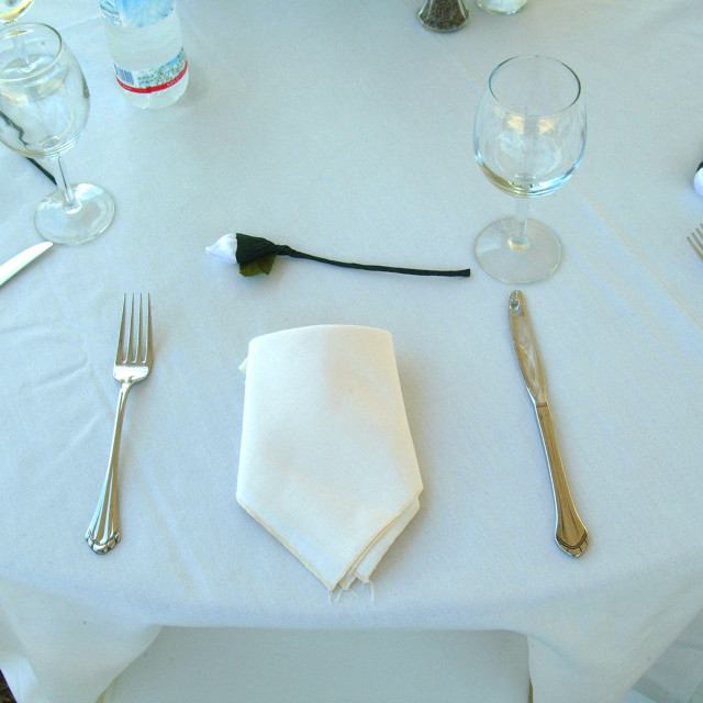 """""""A simple place setting for a wedding"""" stock image"""