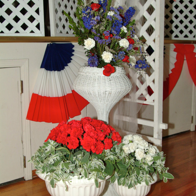 """""""Patriotic red white and blue floral decorations"""" stock image"""