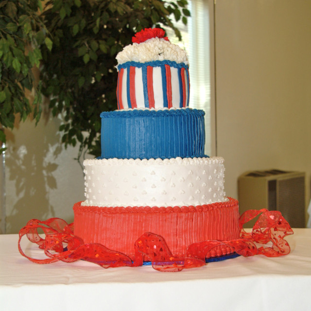 """""""Patriotic red white and blue decorated layer cake"""" stock image"""