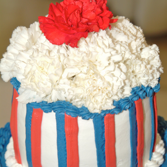 """""""Patriotic red white and blue decorated layer cake top"""" stock image"""