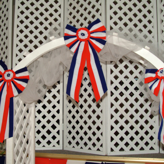 """""""Patriotic red white and blue bunting decorations"""" stock image"""