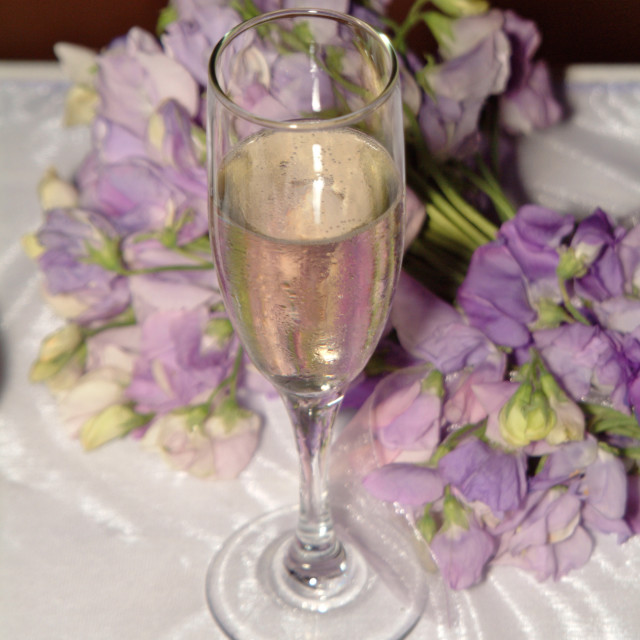 """""""Glass of champagne at a wedding reception"""" stock image"""