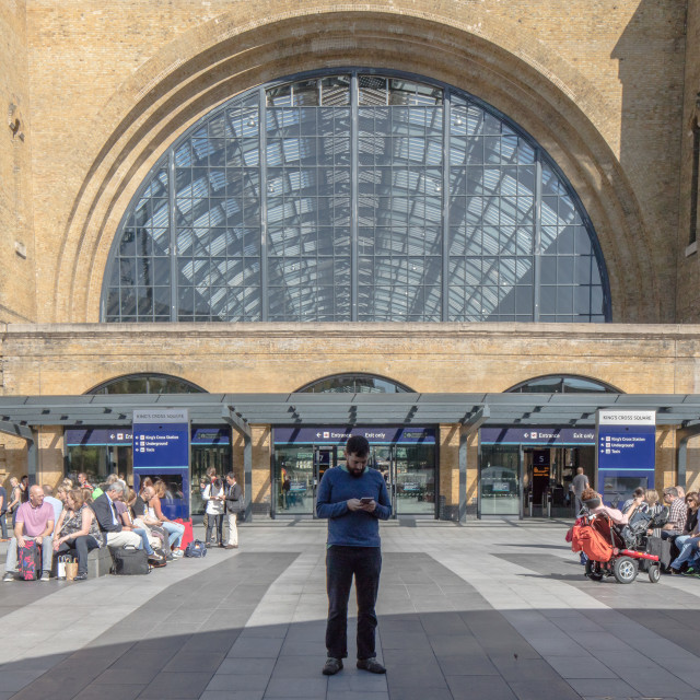 """Conversations at Kings Cross"" stock image"