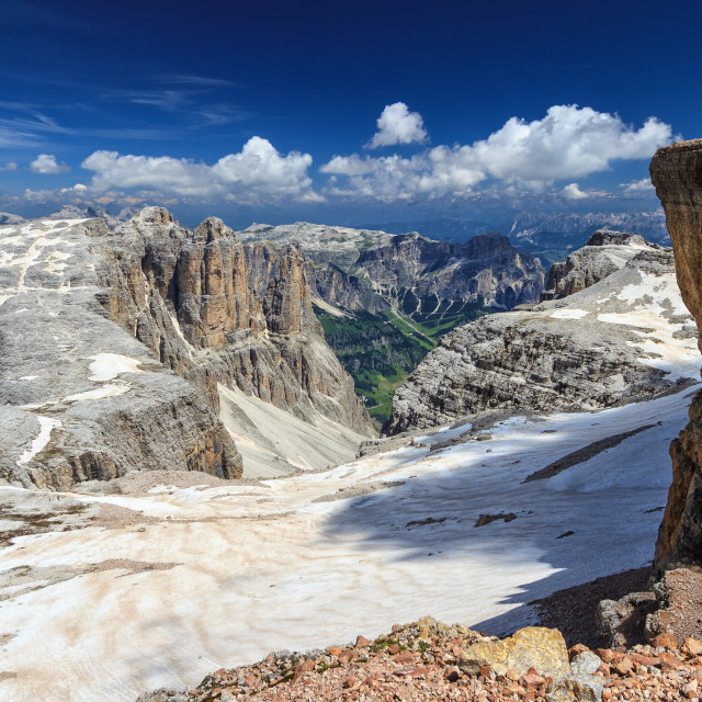 """Dolomiti - Mezdi valley from Piz Boe"" stock image"