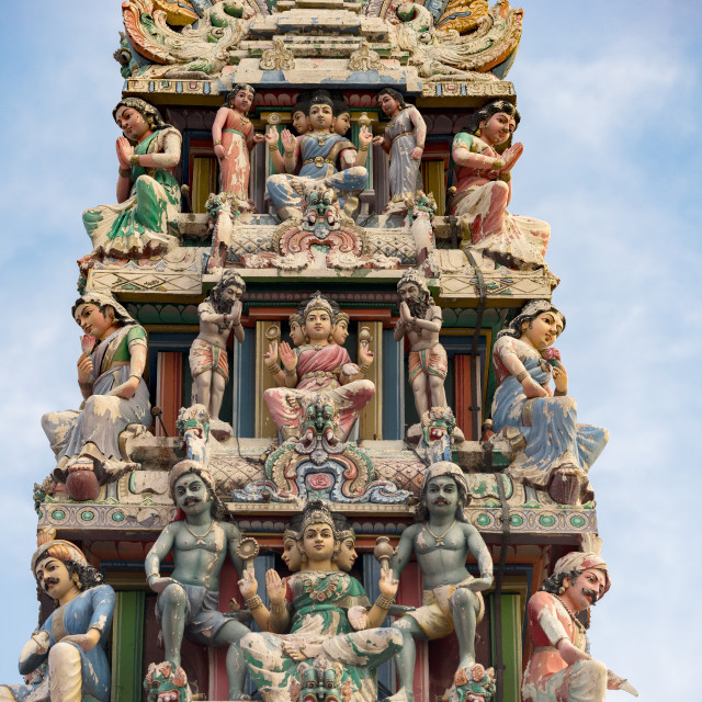 """Hinduism statue of Sri Mariamman temple in Singapore"" stock image"