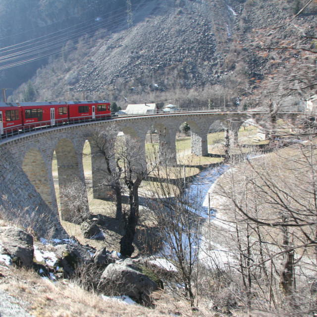 """Bernina Express In Winter"" stock image"
