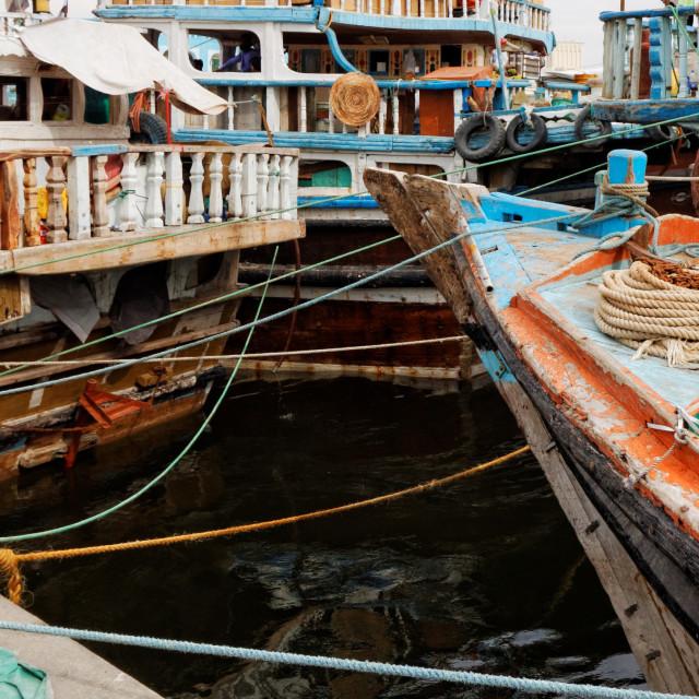 """""""Dhow Wharfage, Deira, Old Dubai, UAE"""" stock image"""