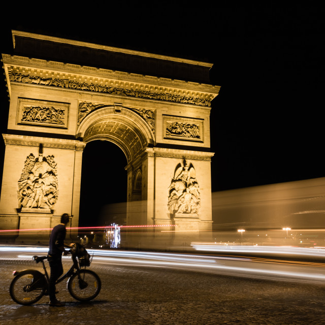 """Midnight at the Arc de Triomphe"" stock image"