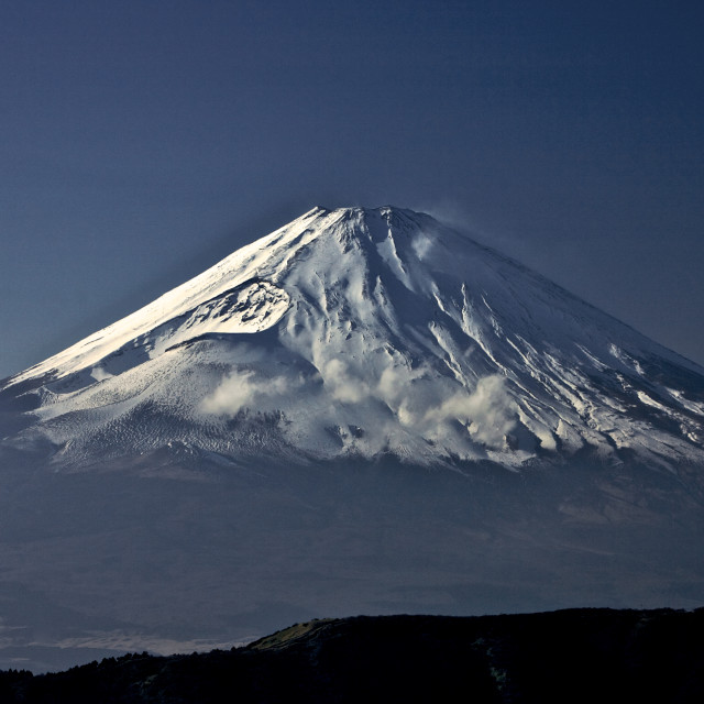 """Full View of Snow on Mount Fiji"" stock image"