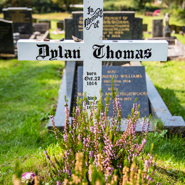 """Dylan Thomas's Grave."" stock image"