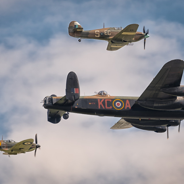 """Lancaster PA474 with Spitfire and Hurricane"" stock image"
