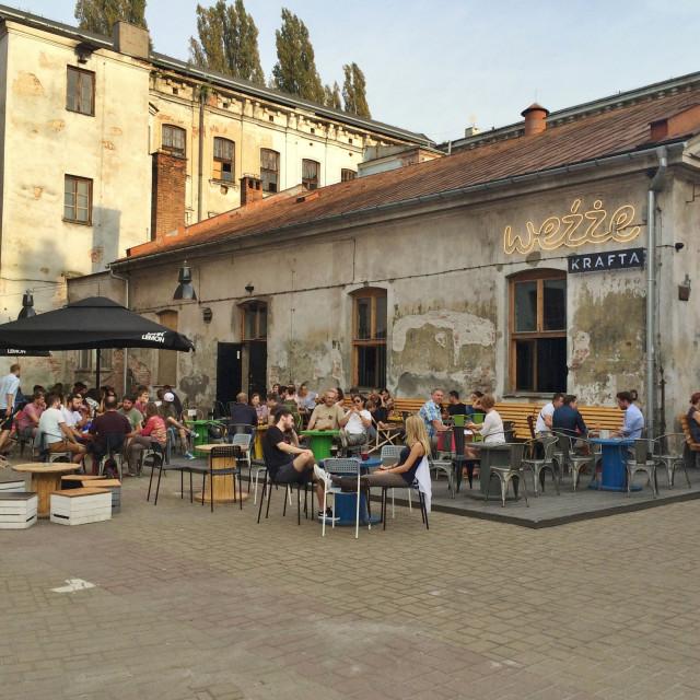 """""""Weżźe Krafta, Kraków beer garden"""" stock image"""