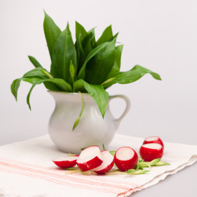 """Bear's garlic (Allium Ursinum) and radishes"" stock image"