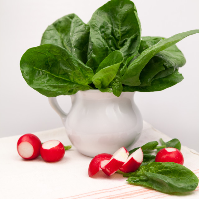 """Fresh spinach leaves and radishes"" stock image"