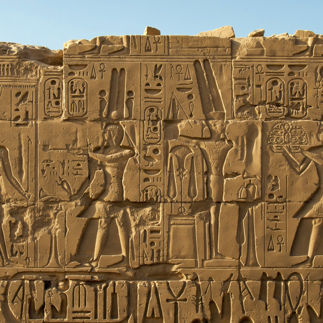 """Wall Reliefs, Karnak Temple, Egypt"" stock image"