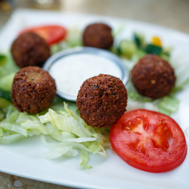 """Falafel on a plate"" stock image"