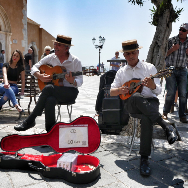 """Sicilian street musicians"" stock image"