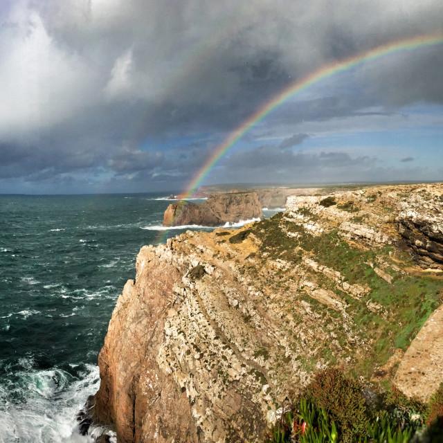 """Rainbow over Sagres"" stock image"