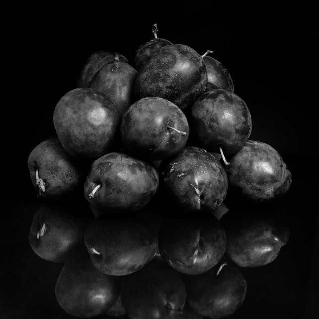 """Plums B&W"" stock image"