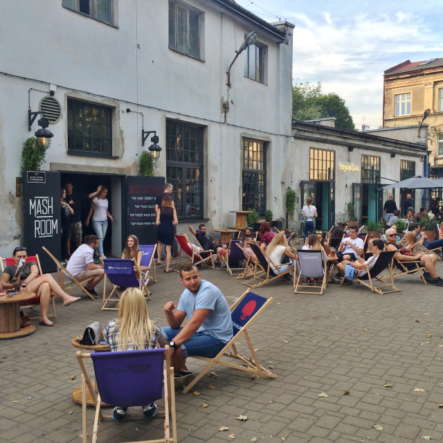 """Krakow beer garden at Tytano"" stock image"