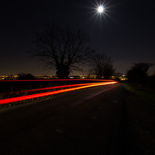 """Moonlight and Traffic"" stock image"