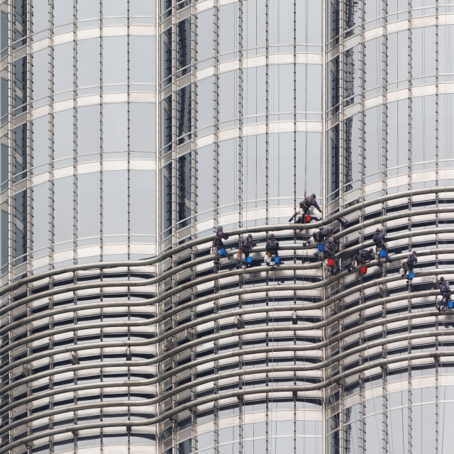"""Window Cleaners on Burj Khalifa, Dubai"" stock image"