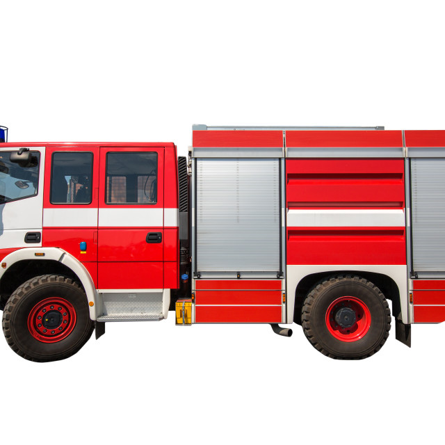 """""""Fire truck isolated on white background"""" stock image"""
