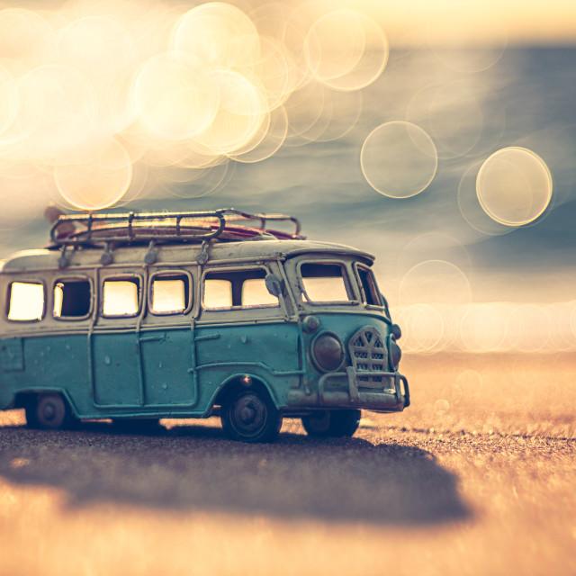 """Vintage miniature van in vintage color tone, travel concept"" stock image"