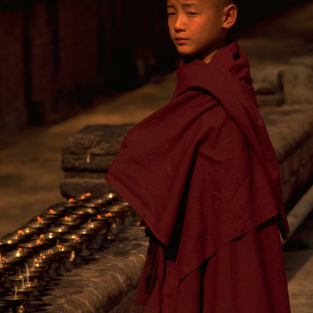 """Boy Buddhist in Bodh Gaya"" stock image"