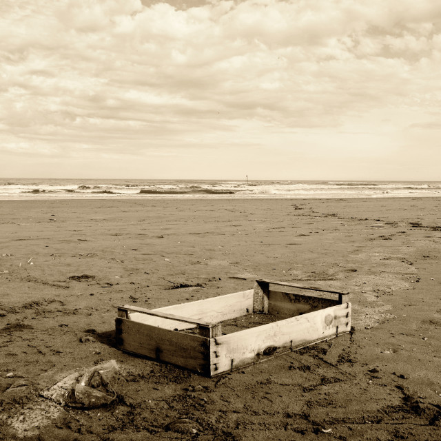 """wooden box on the beach"" stock image"