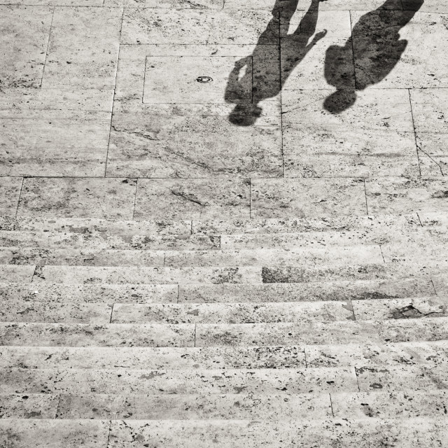 """Human couple shadow on marble staircase"" stock image"