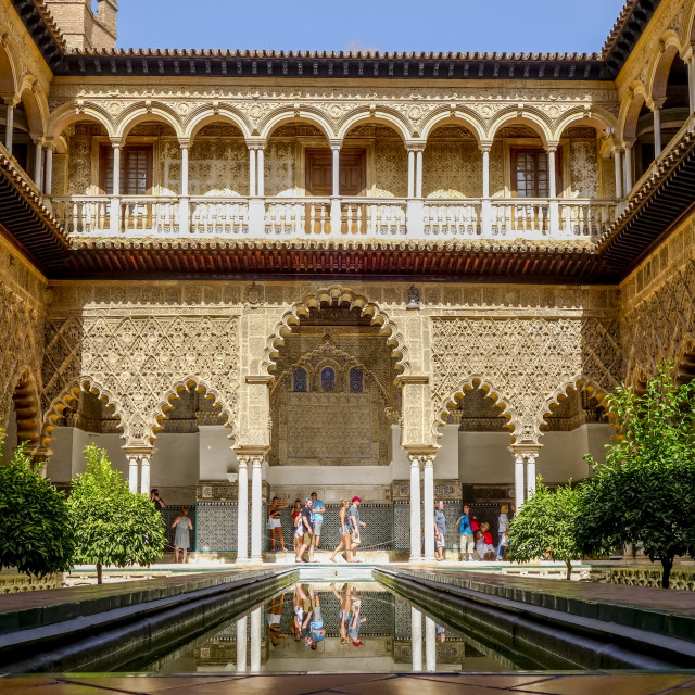 """Alcazar, Seville, The Courtyard"" stock image"