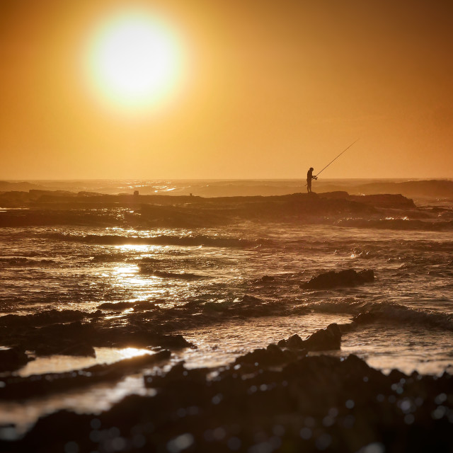 """Sunset fishing"" stock image"