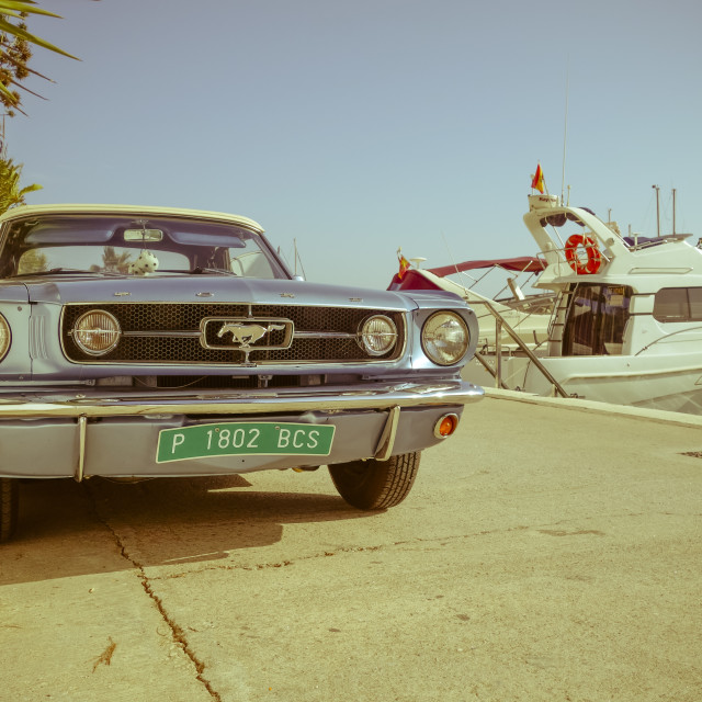 """Ford Mustang in port"" stock image"