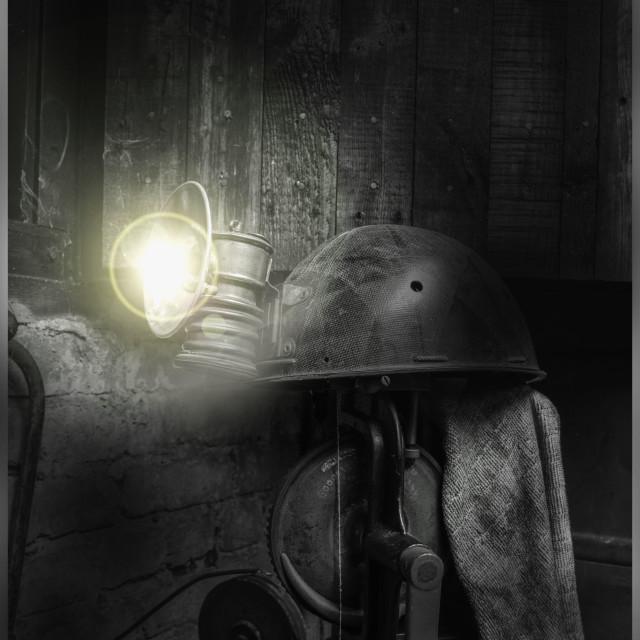 """Miners Helmet Lamp"" stock image"