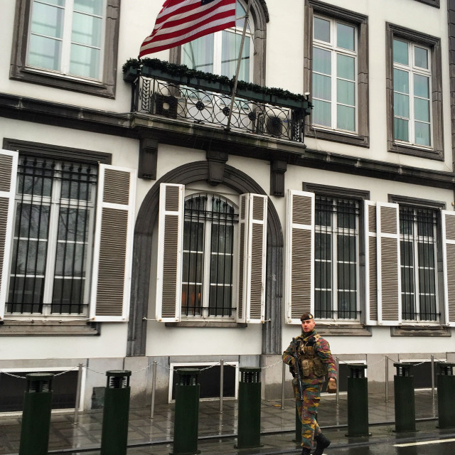 """""""Belgium Soldier guarding the US ambassadors residence in Brussels"""" stock image"""