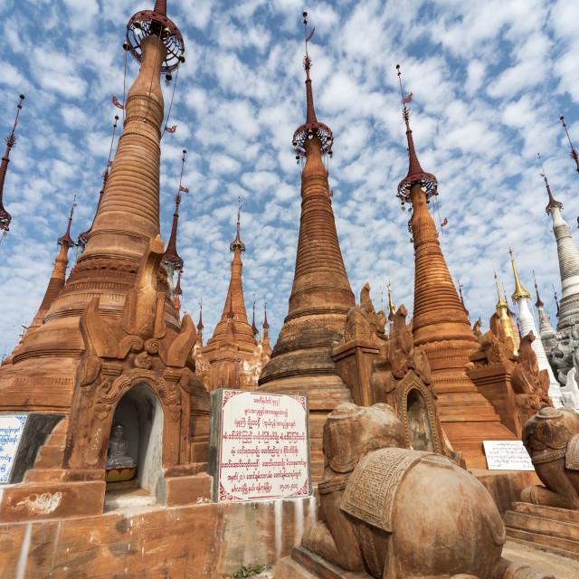 """Shwe Inn Thein Pagoda, Burma"" stock image"
