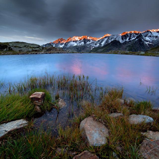 """""""New Day at Black Lake Gavia"""" stock image"""