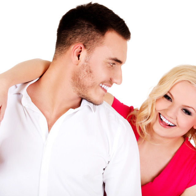 """""""Funny love couple making stupid faces"""" stock image"""