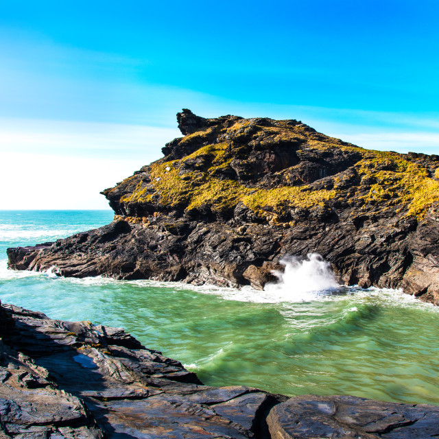 """""""Blowhole at Boscastle"""" stock image"""