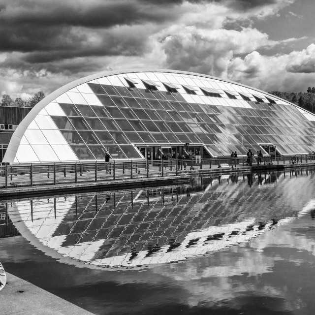 """""""The Falkirk Wheel boat lift and visitor centre, Falkirk, Scotland, UK"""" stock image"""