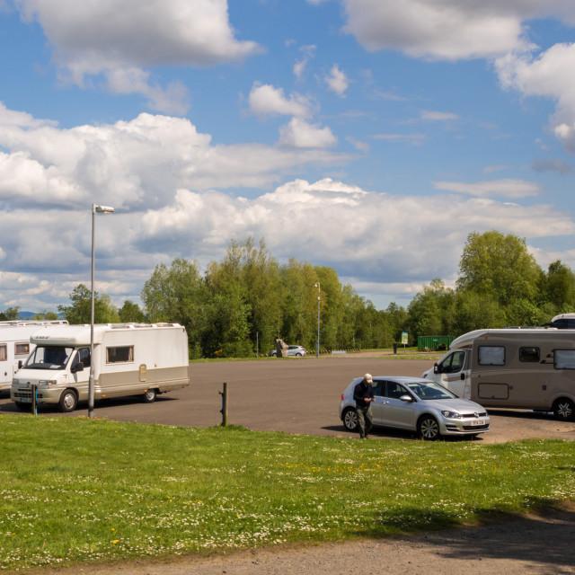 """Holiday makers and campervans at Falkirk Wheel, Falkirk, Scotland, UK"" stock image"