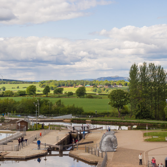 """""""View of the scottish landscape from the top of the Falkirk Wheel boat lift,..."""" stock image"""
