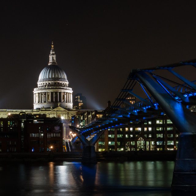 """""""Millennium Bridge & St. Pauls Cathedral by Night"""" stock image"""